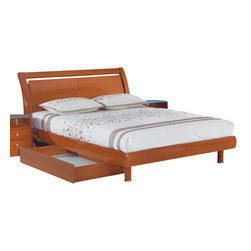 Global Furniture - Global Furniture USA Emily Sleigh Bed in Cherry - Queen - The Emily bedroom collection is finished in a high gloss cherry. The rich color and elegant curves will compliment any home. Not only is this bedroom collection stylish but it also provides ample storage.