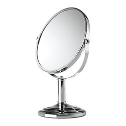 Home Decorators Collection - Magnifying Mirror - Our Magnifying Mirror magnifies 5x and will help with everything from makeup application to tweezing. The mirror features a chrome construction with a thick stem. Wipe clean. The perfect bath accessory to create a spa-like feel.