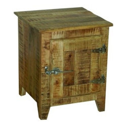 """YOSEMITE HOME DECOR - Bedside Accent Cabinet - A new touch on an old favorite. A solid mango wood """"Ice chest"""" accent table brings a touch of yesteryear home. The bright nickel hinges and handle complete the look. Assembled, Made in India.  Overall Item Dimension 20""""Wx14""""Dx24""""H"""