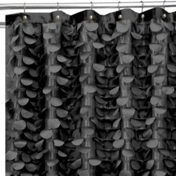 Triangle Home Fashions - Gigi 72-Inch x 72-Inch Shower Curtain in Black - This unique shower curtain is an easy way to add some pizzazz and personality to your bathroom. The lush, elaborate design of laser-cut circles ensures that your bathroom is anything but boring.