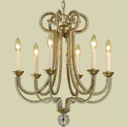 AF Lighting - Candice Olson Soft Distressing Gold Six-Light Chandelier - Soft gold finish with glass beads  -Materials: Metal and glass AF Lighting - 6772-6H