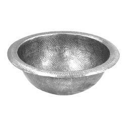 Houzer - Hammerwerks Classic Round Lavatory Sink Self - Classic Round Sink/ Self Rimming. Lustrous Pewter finish. 12.5 in. inner dimension with a 6.5 in. depth. 1.5 in. drain. Antique Copper Overflow assembly . Bowl Interior: 12.5 in. Dia x 6.5 in. deep.. Hand Hammered Pewter. Self Rimming. 15 in. W x 15 in. H x 6.5 in. D