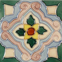 """Glass Tile Oasis - Flor 6"""" x 6"""" Green 6"""" x 6"""" Deco Tiles Glossy Ceramic - All ceramic tiles are hand painted. Glazed thickness will vary from tile to tile, resulting in color variation. Hand-Painted Ceramic tiles will craze and crackle over time, which is intentional and a desired effect."""