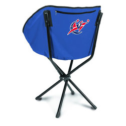 "Picnic Time - Washington Wizards Sling Chair in Navy - The Sling Chair by Picnic Time is a portable, folding chair you can take anywhere. The chair opens to 20"" wide x 14"" deep x 30"" high. No loose parts It's so compact and convenient, you may just want to keep it in the trunk of your car!; Decoration: Digital Print; Includes: 1 nylon drawstring carry bag"