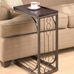 Coaster - Brown Traditional Accent Table - Snack table with a brown finish top and burnish copper finished base.