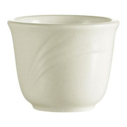 CAC China - Garden State Emboss Pattern 4.5 oz White Tea Cups 72 Ct - Descriptions: C.A.C China provides durable dinnerware at all levels including super white porcelain fine bone china American white china colored glaze china and Asian style china. C.A.C China offers a variety of innovative shapes from square rectangular triangular wavy to round that will brighten up any tables for modern trendy restaurants hotels resorts clubs caterers cruises etc. All C.A.C China products are oven microwave and dishwasher safe.