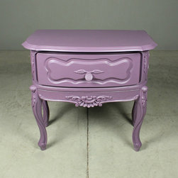 purple passion nightstand - view this item on our website for more information + purchasing availability: http://redinfred.com/shop/category/furnish/tables-desks/occasional-tables/purple-passion-nightstand/