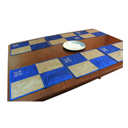 Banarsi Designs - Elegant Colorblock Placemats, Set of 6 (Blue) - Dress up any modern dining area with this elegant hand embroidered colorblock placemat set. Featuring delicate stone work hand embroidery and lush fabrics in six splendid pieces, these beautiful placemats are sure to enhance the look and feel of any table; thus, they are indeed an excellent addition to be used with a tablecloth, a table runner, or simply by themselves for a one of a kind look. This impeccable placemat set adorns your dining room table and creates a conversation piece among your guests. Whether you are looking for a placemat set for a dinner party or just want to revamp your everyday dining room, these placemats will add an extra special touch to your current decor.