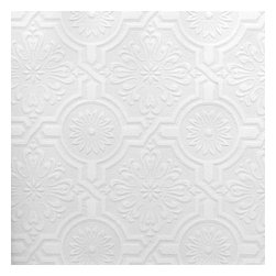 Brewster Home Fashions - Nazareth Ornate Tiles Paintable Wallpaper Bolt - Paint over this wallpaper to enjoy the best of both worlds - a beautiful design in the perfect color for your space! This pretty paintable wallpaper is embossed with a cultured and chic floral tile motif that transforms walls while allowing you the creative freedom to customize the color. Paintable solutions are also an affordable way to solve common wall and ceiling imperfection issues.