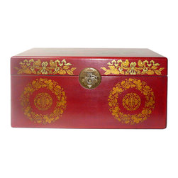 Golden Lotus - Chinese Red Phoenix Dragon Rectangular Storage Box - This jewelry / storage accent box is modified from the traditional Chinese box. It is made of cardboard paper and covered with artificial leather.