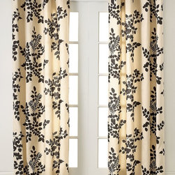 Miller Curtains Simsbury Collection Panel, Chocolate - These aren't your grandma's floral drapes. This graphic flower pattern is a nice modern touch on an otherwise old-fashioned decorating concept.