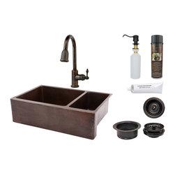 """Premier Copper Products - Premier Copper Products KSP2_KA75DB33229 33"""" Copper Apron Scroll 75/25 Sink Pkg - Premier Copper Products KSP2_KA75DB33229 33"""" Hammered Copper Kitchen Apron 75/25 Double Basin Sink Package"""