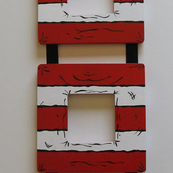 Dr. Seuss Cat in the Hat Hand-Painted Wooden Frames by Funky Letter Boutique - This triple photo frame is striped like a certain mischievous cat's very famous headwear.