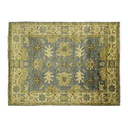 Manhattan Rugs - New Veg Dyed Oushak Hand Knotted Wool UCLA Blue 9x12 Turkish Geometric Rug H5450 - Oushak rugs originated in the small town of Oushak in west central Anatolia, roughly 100 miles south of the city of Istanbul in Turkey. Oushak has produced some of the most decorative Persian influenced rugs of all times. Oushak has been a production center of Turkish rugs since the 15th century. In the late 15th century the 'design revolution' took place. Before, producing carpets was part of the nomad culture, meeting people's daily needs, but for the first time the works of designing and weaving rugs were split in two. These Turkish rugs began to be produced commercially. From the 16th up to the 18th century the most famous manufacturers of ottoman times worked in Oushak. A special heirloom wash produces the subtle color variations that give rugs their distinctive antique look.