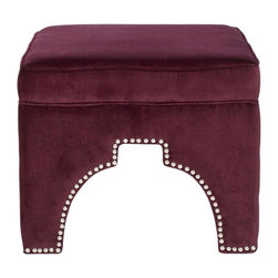 Used Burgundy Velour Grant Ottoman - Rest your feet in on this global-chic Safavieh Grant ottoman, which features a Moorish arch cutout outlined in handsome silver nail heads. Beautifully upholstered in chic Bordeaux cotton velour, this fashionable ottoman is crafted of sturdy wood.  Equally good looking alone or in pairs, Grant combines comfort and style in the living room, family room or bedroom.