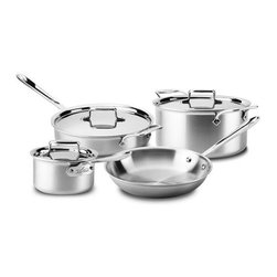 All Clad - All Clad d5 Brushed SS Cookware Set, 7 pc. - d5s patented inner core of premium stainless guarantees more even heating performance over traditional cookware, virtually eliminating hot spots while achieving a new level of stability that is optimised for induction cooking and improves performance on all hob surfaces. Years in development, stainless with patented d5 technology sets a new standard in culinary excellence. The patented stainless core significantly improves stability to prevent warping and maximises the thermal conductivity of aluminium.