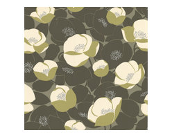 Graham and Brown - Amy Butler Wallpaper - Field Poppies - Moss - Field Poppies has a lush play of light and airy, like looking at the top of a pond covered in glorious blossoms. The flowers have a wonderful dimension with lovely depth and a little bit of drama!