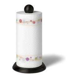 Spectrum Diversified Designs - Luna Paper Towel Holder, Black - The Luna Paper Towel Holder is a great way to store and display your paper towels. The sturdy padded base protects countertops from scratches, while the removable ball finial easily unscrews to change rolls. Made of sturdy steel.