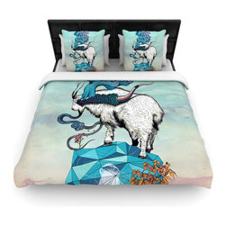 """Kess InHouse - Mat Miller """"Seeking New Heights"""" Blue Goat Woven Duvet Cover (Twin, 68"""" x 88"""") - Add a splash of artistically inclined comfort to the average down comforter with a large focus to your bed! Our duvet cover is made of a beautifully crafted woven polyester fabric on top and a comforting and soft cotton/poly blend on bottom! We highly recommend washing your artwork before laying it onto your bed for added comfort and softness! These are totally machine washable and won't fade!�"""