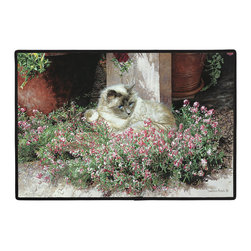 306-Sweet Alyssum Doormat - 100% Polyester face, permanently dye printed & fade resistant, nonskid rubber backing, durable polypropylene web trim. Use on the porch or near your back entrance to the house. Indoor and outdoor compatible rugs that stand up to heavy use and weather effects