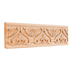 Hardware Resources - Hard Maple Fleur-de-Lis Mouldings - Crown moldings ease the transition from ceiling to wall. They add character and elegance to your room from the simple and traditional to the rich curves and flowers of the Renaissance designs. Give your room the finishing touch it deserves.