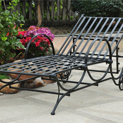 International Caravan - International Caravan Single Multi-position Chaise Lounge - Durable iron construction highlights this multi-position chaise lounge. This furniture is great for outdoor use and features a black finish.