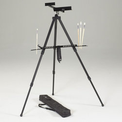 Martin Universal - Martin Universal Italia Aluminum Watercolor Easel - 92-AE222 - Shop for Art Easels from Hayneedle.com! The Martin Universal Italia Aluminum Watercolor Easel incorporates a steel tripod base within the aluminum construction for superior lightweight rigidity. This easel adjusts horizontally 0 degrees to 90 degrees and vertically giving you superior versatility. It can be used as a tabletop or full-sized easel and accommodates up to a 47-inch canvas. The retractable metal legs have rubber feet to keep it stable. This easel quickly folds into a small size and weighs only 4 pounds. The included carry bag makes it highly portable and easy to store.About Martin Universal Design Inc.Over 40 years ago Dennis Kapp founded Martin Universal Design Inc. which incorporated the wholesale importing and manufacturing of Northwest Blue Print the company Mr. Kapp's father founded in 1946. The Kapp family then purchased a business started by Ray Martin who was the first designer and crafter of drafting templates in the United States. Since then the family has been carrying on the tradition of creating high-quality artist accessories and furniture. Today Martin Universal Design Inc. supplies the art industry with a complete range of quality artist accessories drafting tables materials and tools.