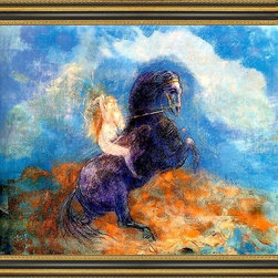 """Art MegaMart - Odilon Redon Brunhild (Valkyrie) - 16"""" x 20"""" Odilon Redon Brunhild (also known as The Valkyrie) framed premium canvas print reproduced to meet museum quality standards. Our Museum quality canvas prints are produced using high-precision print technology for a more accurate reproduction printed on high quality canvas with fade-resistant, archival inks. Our progressive business model allows us to offer works of art to you at the best wholesale pricing, significantly less than art gallery prices, affordable to all. This artwork is hand stretched onto wooden stretcher bars, then mounted into our 3 3/4"""" wide gold finish frame with black panel by one of our expert framers. Our framed canvas print comes with hardware, ready to hang on your wall.  We present a comprehensive collection of exceptional canvas art reproductions by Odilon Redon."""
