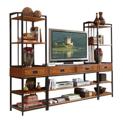 Home Styles - Home Styles Modern Crafts 3-Piece Gaming Entertainment Center - Home Styles - Entertainment Centers - 505034 - Reminiscent of the American Craftsman Era with understated style and simplicity the Modern Craftsman Entertainment Collection marries a traditional multi - step distressed Oak finish on poplar solids and oak veneers with new age brown metal accents. With four storage drawers and six fixed shelves the Modern Craftsman Gaming Entertainment Center provides much needed storage space in an entertainment space. Three piece set includes the gaming entertainment center and two media towers.