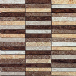 Saime - Saime Fusion Mix Mosaic Multi Grid 0.5 x 3.75 - The Fusion tile series by Saime features durable through-body glazed porcelain tiles in contemporary wood look styles.  It's pretty easy to tell by it's non traditional wood colors and high shade variations how this collection got it's name.