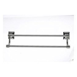 """Top Knobs - Bath Double Towel Rod - Brushed Satin Nickel (TKSTK7BSN) - Stratton Bath 18"""" Double Towel Rod - Brushed Satin Nickel"""