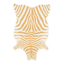 "Loloi Rugs - Loloi Rugs Zadie Collection - Gold / White, 3'-6"" x 5'-6"" - A playful reinterpretation of the timeless zebra stripe, the Zadie Collection offers bright color options that are perfect for the outdoors. The collection is hooked in China of 100% polypropylene that's meticulously treated to withstand UV rays and rain."