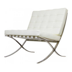 Serenity Living Stores - Barcelona Chair & Ottoman Reproduction - Italian Leather, Ivory - The Barcelona Chair was initially designed by Mies Van Der Rohe & Lilly Reich during the middle of the 19th century. The main source of inspiration for our chair comes from the 1929 German Pavilion where Mies and Lilly Reich showcased a gorgeous chair now known worldwide as the Barcelona Chair.