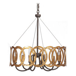"Gabby - Gabby Lighting Virginia Chandelier - Decor with a story, Gabby's line of antique reproduction furniture retains the spirit of the European pieces that inspired it. The eye-catching Virginia chandelier wraps a traditional form with modern panache. Interlocking antique gold circles surround the light fixture's elegant black iron base, resulting in a striking accent piece for transitional dining rooms. 19.3""W x 19.3""D x 21.8""H, Chain: 40.4""L."