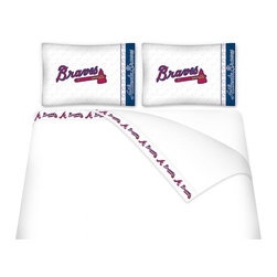 Sports Coverage - Sports Coverage MLB Atlanta Braves Microfiber Hem Sheet Set - Twin - MLB Atlanta Braves microfiber Hem sheet sets have an ultrafine peach weave that is softer and more comfortable than cotton. Its brushed silk-like embrace provides good insulation and warmth, yet is breathable.   The 100% polyester microfiber is wrinkle-resistant, washes beautifully, and dries quickly with never any shrinkage. The pillowcase has a white on white print beneath the officially licensed team name and logo printed in vibrant team colors, complimenting the new printed hems.   Features: -  Weight of fabric - 92GSM microfiber,  -  Soothing texture and 11 pocket,  - 100% Polyester,  - Machine wash in cold water with light colors,  -  Use gentle cycle and no bleach,  -  Tumble-dry,  - Do not iron,
