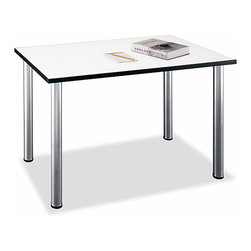 Bush Business - Aspen Small Rectangular Table - The bright White Spectrum finished surface of this table is coated with melamine, which will resist scratches, stains, glare, and any other deterrent that would  mar its pure writing, drawing, and reading enhancing appearance.  Our white Melamine desk is available in this rectangular model, with extra desk space and optional sliding keyboard shelf for extra functionality.  The white desk surface is scratch- and stain-resistant with a coated underside to prevent garment snags, and the steel legs contain inbuilt levelers to keep the desk straight even on uneven floors.  A white table ideal for the classroom setting, this table is perfect for small group activities and study sessions.  The table rests on four sturdy legs and has a coated underside to protect clothing. * White Spectrum melamine Table surface resists scratches, stains and glare. PVC edge banding stands up to bumping and rearranging. Stationary metal legs have levelers for uneven floors. Coated underside prevents clothing snags. Meets ANSI/BIFMA standards for commercial use. Accepts optional keyboard shelf for increased desking functionality . 47.244 in. W x 28.346 in. D x 28.937 in. H
