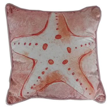Handcrafted Nautical Decor - Red and White Starfish Decorative Throw Pillow 10'' - This charming Red and White Starfish Decorative Throw Pillow 10'' combines the  atmosphere of  the sea and represents sea life with a starfish placed prominently in the center of our pillow. This pillow will evoke memories of the waves washing up to the shore. Place this  pillow in   your home to show guests your affinity for sea life and beach  decor.----    Handcrafted by our master artisans--    Beautiful starfish design--         --    Red and white nautical colors --    --