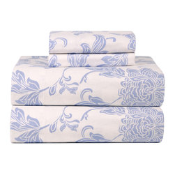 None - Celeste Home Corsage Ultra Soft Flannel Sheet Set - The corsage ultra soft flannel sheet set will keep you warm during those cold winter nights. This 100-percent cotton set features a floral pattern that will bring a charming look to your bedroom.