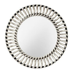 Murray Feiss - Murray Feiss MR1145BK-SV Cosmo Clear Rounded Mirror in Black/Silver MR1145BK-SV - Forty two inches in diameter, this clear glass rounded wall mirror adds luxury to any room. With its traditional d�cor, this rounded shaped mirror from the Cosmo Collection is distinct and eye-catching. Hanging hardware included and affixed to the frame enabling mirror to be hung horizontally or vertically.Portrait Orientation Hanging Hardware IncludedCollection: Cosmo Diameter: 42 Extension: 2-1 4 Finish: Black Silver Lighted: No Shade: Clear Glass Shape: Rounded Style: Traditional Classic Suggested Room: Fit Entry Foyer, Living Room, Office Weight: 17.38