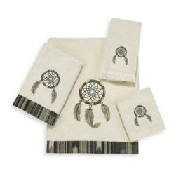 """Avanti - Dream Catcher Ivory Bath Towel - Bring positivity to your surroundings with the Dream Catcher Ivory Towel Collection. It features a beautiful embroidery of the popular """"dream catcher"""" motif with a coordinating stripe fabric trim. Bath Towel measures 27"""" x 50""""."""