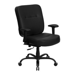 Flash Furniture - Hercules Series Big and Tall Office LeatherSo - Back tilt locks in any available position. Extra Wide Seat. Back height adjustment. Asynchronous back tilt. 5 in. thick foam padded seat and back. CA117 Fire Retardant Foam. Soft black LeatherSoft upholstery. LeatherSoft is leather and polyurethane for added Softness and Durability. Soft polypropylene arm rests. Height adjustable arms. Pneumatic seat height adjustment. Swivel control mechanism. Heavy duty dual wheel casters. 5-Star steel base with black powder coat finish. Warranty: 2 year limited. Assembly required. Weight Capacity: 400 lbs.. Back: 21.5 in. W x 22 - 24 in. H. Seat: 22 in. W x 21.5 in. D. Seat Height: 19.75 - 22.75 in.. Arm Height from Floor: 26 - 32.25 in.. Arm Height from Seat: 6 - 9 in.. Overall: 31 in. W x 29 in. D x 39.5 - 42.5 in. H (60 lbs.)