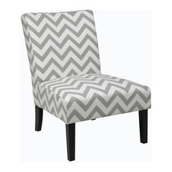 Ave Six - Chair in Zig Zag Grey - Covered in high performance, easy care fabric. Dacron wrapped foam cushions. Solid wood legs for durability. Intended for residential use only. Weight capacity: 200 lbs.. Assembly required. 25.25 in. W x 31.5 in. D x 33 in. H (22 lbs.)