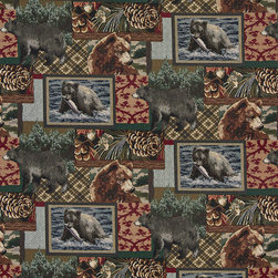 Bears Fish Acorns and Trees Themed Tapestry Upholstery Fabric By The Yard - P1810 is an upholstery grade tapestry novelty fabric. This fabric is excellent for cabins, lodges, homes and commercial uses.