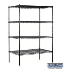Salsbury Industries - Wire Shelving - Stationary - 48 Inches Wide - 74 Inches High - 24 Inches Deep - - Wire Shelving - Stationary - 48 Inches Wide - 74 Inches High - 24 Inches Deep - Black