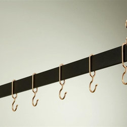 Rogar - Hanging Bar Rack in Black w Copper (54 in.) - Choose Size: 54 in.Made of Steel. Black finish. Rack is perfect over a kitchen island. Puts cookware and utensils at hand. It 's available in four lengths and five finishes. Each rack comes w 2 pieces of 18 in. plated chain. Special design ensures hooks won't slide off bar. Powder coated Steel in 36 in., 42 in., 48 in. and 54 in. L. Includes 6 Copper Hooks. 36 in. L x 2 in. H (10 lbs.). 42 in. L x 2 in. H (11 lbs.). 48 in. L x 2 in. H (12 lbs.). 54 in. L x 2 in. H (13 lbs.)