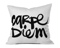 DENY Designs - Kal Barteski Carpe Diem Outdoor Throw Pillow - Do you hear that noise? it's your outdoor area begging for a facelift and what better way to turn up the chic than with our outdoor throw pillow collection? Made from water and mildew proof woven polyester, our indoor/outdoor throw pillow is the perfect way to add some vibrance and character to your boring outdoor furniture while giving the rain a run for its money.
