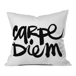 Kal Barteski Carpe Diem Outdoor Throw Pillow - Do you hear that noise? it's your outdoor area begging for a facelift and what better way to turn up the chic than with our outdoor throw pillow collection? Made from water and mildew proof woven polyester, our indoor/outdoor throw pillow is the perfect way to add some vibrance and character to your boring outdoor furniture while giving the rain a run for its money.