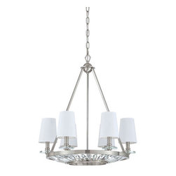 Yosemite Home Decor - Cascade Polished Nickel Six-Light Chandelier with Shade - - UL-rated  - Plated nickel frame with fabric shades  - Built to last metal with fabric construction  - Can be installed in your dining area, romantize a bedroom, and function room  - Overall dimensions: 31.5 H x 26 W x 26 D  - 1 year warranty on parts - see packaging for details  - Bulbs not included Yosemite Home Decor - TWC102-6PN