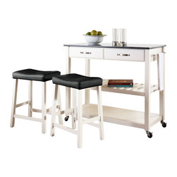 Crosley Furniture - Crosley Furniture 42x18 Solid Black Granite Top Kitchen Cart/Island w/ 24 Inch W - Constructed of solid hardwood and wood veneers, this mobile kitchen cart is designed for longevity. The handsome raised panel drawer fronts provide the ultimate in style to dress up any culinary space. Two deep drawers are great for holding essential items, such as utensils or storage containers. The adjustable/removable shelf is great for appliances. Remove the shelf completely to allow for storing larger objects. The heavy duty casters provide the ultimate in mobility. When the cabinet is where you want it, simply engage the locking casters to prevent movement. Style, function, and quality make this mobile solution a wise addition to your home.
