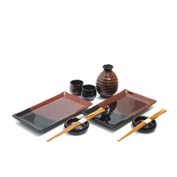 MySushiSet.com - 9-PC Hearth Stone Sushi and Sake Set for Two - A Hearth Stone Sushi and Sake Set is the perfect way to celebrate an anniversary or other special occasion for those who love to have a private dinner for two. This lovely sushi plate set provides you with everything you need for your evening at home.